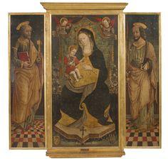 """Genesio De Zelati (Attivo a Cremona nella seconda metà del XV secolo) """"Madonna con Bambino in trono, San Pietro e San Paolo"""", olio su tela applicato su tavola, cm 138x140. Opera notificata."""