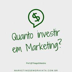 Dica via @ThiagoGMartins Esta é uma pergunta que sempre me fazem: QUANTO INVESTIR? O ideal é você inserir os investimentos de mkt dentro do seu custo pode ser uma % do valor ou que seja R$ 100 por produto. É claro que você deve levar em consideração a sua capacidade produtiva/comercial e seus custos mínimos. Mas o que quero dizer é: você deve investir em MKT de acordo com seu Giro - quanto mais vende mais você investe - assim você não fica além e nem aquém dos seus potenciais de mercado…