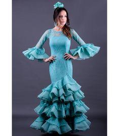 trajes de flamenca 2018 mujer - Roal - Vestido de gitana Giralda Encaje