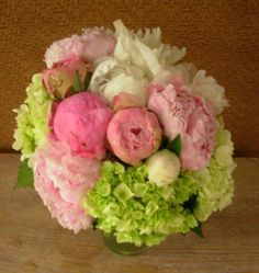 pink & white peonies/ green hydrangeas bouquet, do with pink ranunculus instead.