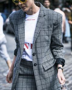 restyling clothes ideas: pair a slogan tee with a suit