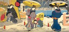에도 시대의 겨울 풍경 ( 「코하루 12 월의 내 첫눈 '삼대 우타가와 도요 쿠니 화)
