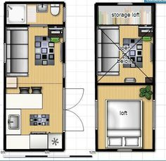 ISBU Tiny House Render - floorplan (shipping container home) - To connect with us, and our community of people from Australia and around the world, learning how to live large in small places, visit us at /TinyHousesAustralia Building A Container Home, Container House Design, Tiny House Design, Container Homes, Tiny House Plans, Tiny House On Wheels, House Floor Plans, Shipping Container House Plans, Shipping Containers