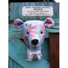 #NationalUpcyclingDay  Upcycled skirt >>> Into a Teddy Bear trophy  head >>>>http://www.tillylanetreasures.co.uk/shop/en/1016--faux-taxidermy-shabby-chic-large-teddy-bear-trophy-head-cabbage-rosesupcycled-shabby-chic-fabric-.html …