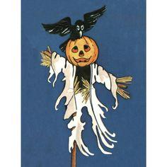 Halloween Card Pumpkin Head Scarecrow with Black by KatyDidsCards