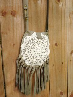 Sage Leather Boho Crossbody Bag with Fringe, Vintage Crochet Lace and Skeleton Key - Boho Festival Phone Purse  READY TO SHIP  For the flower child, hippie, bohemian and gypset life, this little Sage leather crossbody purse has long fringe for blowing in the wind and a vintage crochet doily as the centerpiece. An authentic antique brass skeleton key adorns the long strap.  Its perfectly sized for carrying a small wallet, keys and smart phone, and versatile enough to hang with a warm or cool…