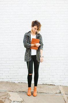 Black denim, camo jacket, leather earrings