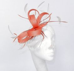 Orange Fascinator Hat for Weddings Cocktails by Hatsbycressida, $70.00