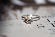 White gold dainty engagement ring with pear shape morganite Morganite Ring, Morganite Engagement, Dainty Engagement Rings, Symbolic Representation, Light Pink Color, Feminine Energy, Brilliant Diamond, Pear Shaped, Fine Jewelry