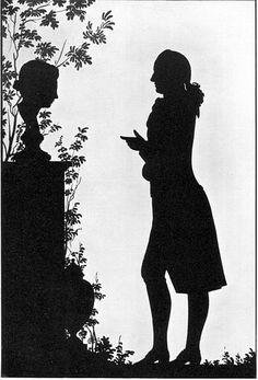 Black paper silhouette Goethe Vor Einem Grabmal Mit Weiblicher Bueste