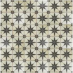 Merola Tile Kings Star Nero Encaustic in. Ceramic Floor and Wall Tile sq. / case)-FPESTRN - The Home Depot Wall Patterns, Star Patterns, Floor Patterns, Tiles Online, Distressed Painting, Shower Floor, Stone Tiles, The Ranch, Rustic Charm