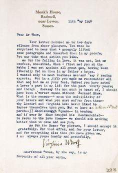 Virginia Woolf writes to George Bernard Shaw, 1940.