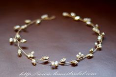 Golden Tiara Circlet Bridal Wedding Crown made with Small by LAmei