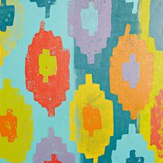 Ikat artwork - paint ikat inspired art with a how-to and printable stencil from Lowe's Creative Ideas.