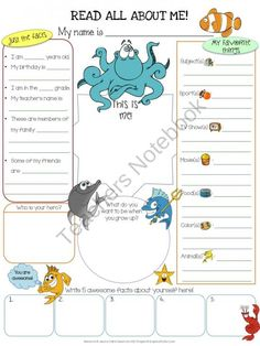 All About Me Ocean product from Jasons-Classroom on TeachersNotebook.com