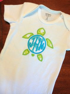 Monogram Sea Turtle Onesie, Infant Gown or T Shirt on Etsy, $17.00