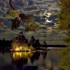 nighttime at the cottage on the lake island, Ontario (photo by Ryan Coleman) The Places Youll Go, Places To Go, Ontario Cottages, Cabins And Cottages, Log Cabins, Cabins In The Woods, Plein Air, The Great Outdoors, Cool Pictures