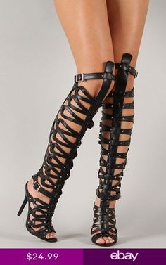 """Spotted while shopping on Poshmark: """"Breckelle Gladiator heels""""! Caged Heels, Pumps Heels, Stiletto Heels, Caged Sandals, Gladiator Boots, Knee High Heels, Open Toe Sandals, Girls Shoes, Shoes Women"""