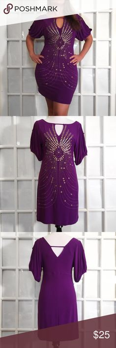 Bisou Bisou Purple and Sparkle Open Shoulder Dress Hella Sexy and stylish, this Bisou Bisou dress features a deep V neck, cold shoulder sleeve, sparkly embellished design and fitted body. A very Party-ready dress! 96% Polyester 4% Spandex Machine Wash inside out, Dry Flat ⭐️Like New Bisou Bisou Dresses Midi