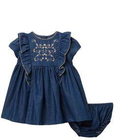 Bonnie Baby by Bonnie Jean Baby Girls Denim and Cream Lace Eyelet Dress 0//3M