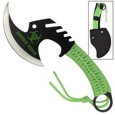 Skull Splitter Tomahawk consists of a blade width and has a Zombie Killer symbol printed on the blade. The handle is wrapped with a bright orange nylon cord. Black Zombie, Throwing Axe, Throwing Hatchet, Armas Ninja, Zombie Weapons, Zombie Zombie, Zombie Gear, Zombie Hunter, Beil