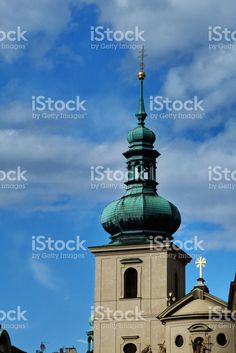 Bell tower of the church of St. Gallus in Prague royalty-free stock photo