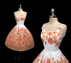 RESERVED Vintage 1950s Peach Floral Print Cotton Full Skirt Pinup Party Dress M on Etsy, Sold