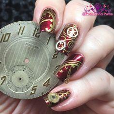 Polish and Paws: Nail Art ~ Clock Steampunk Nails