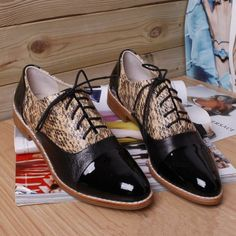 2013 fashion british style spell color sheepskin women flat shoes, casual comfortable patent leather design oxfords flats US $62.00