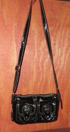 LONDON FOG Audrey black patent like leather crossbody handbag Buddha 2e8242b4e5d3d