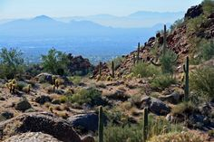 Beautiful views from Pinnacle Peak Trail in Scottsdale, Arizona. Pinnacle Peak Trail is one of Scottsdale's most popular hikes. Grand Canyon Arizona, Arizona Usa, Arizona Travel, Scottsdale Arizona, Arizona Trip, Phoenix Arizona, Beautiful Landscape Photography, Beautiful Landscapes, Nevada