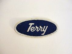 Vintage Embroidered Name Patch TERRY Bowling Name by metrocottage