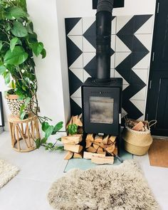 Harlequin Decor Tiles | Mandarin Stone | Hey zig zag 🌷💕 love my logburner❤️ this has been such a useful log burner over the years so now it's got the glory it deserves 💕have a… Mandarin Stone, Glazed Tiles, Living Spaces, Living Room, Log Burner, Extension Ideas, Decorative Tile, Stoves, Tile Patterns