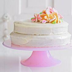 orange-chiffon-cake-marshmallow-flowers-RU173790 Lemonade Cake Recipe, Pink Lemonade Cake, Powdered Sugar Icing, Vanilla Frosting, Marshmallow Flowers, Orange Chiffon Cake, Champagne Cake, Chocolate Marshmallows, White Cake Mixes