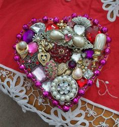 Upcycled Vintage Jewelry Valentines Day Heart by ALEXLITTLETHINGS