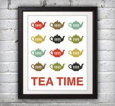 Teapots Print Poster Mid Century Art Quote by BentonParkPrints, $14.00