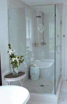 Rectangle tile Rachel Bishop Designs - Gorgeous frameless glass shower in master bathroom with rain ...