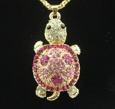 Fashion Betsey Johnson cute pink crystal turtle long pendant necklace N527  | eBay