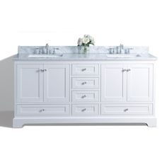 Ancerre Designs Audrey White Undermount Double Sink Bathroom Vanity with Natural Marble Top (Common: 72-in x 22-in; Actual: 72-in x 22-in)