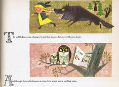 From Animal Fair illustrated by the Provensens. The blonde girl and the owls are each cards from the 1966 Memory Game card set