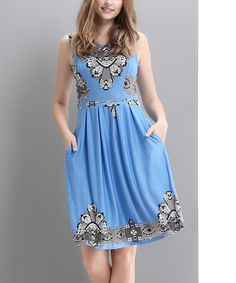 Look at this Blue Lace-Print Fit & Flare Dress - Women on #zulily today!