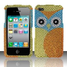 Make your phone look cooler and more attractive with Apple iPhone 4 iPhone 4S Hard Cover Case - Yellow/ Blue Owl 2 With Full Rhinestones