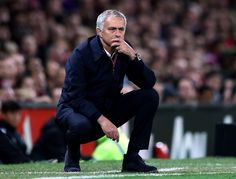 Jose Mourinho, manager of @manutd, looks on during a game at Old Trafford.