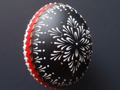 Easter Egg Pysanka in Black, Red and White, Hand Painted Chicken Egg, Wax Embossed Easter Egg. $24.95, via Etsy.