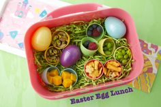 Easter egg lunch... I love the idea of the healthy snacks in Easter eggs!