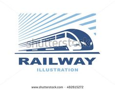 Train logo illustration on light background, emblem