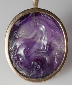 Roman Amethyst Intaglio of a Girl Riding a Sea Monster, 1st Century BC/AD