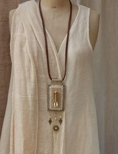 Long linen  pendant necklace with ethnic beads from Africa