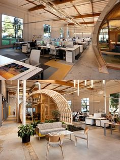 Open plan office with indoor garden #openplanoffice Cubicles.com