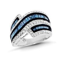 1.00 Carat Blue & White Diamond Contour Ring in Sterling Silver